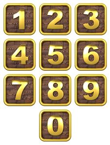 Free 3D Set Of Gold Metal Numbers. Stock Photo - 30864630