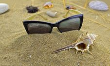 Free Sunglasses On The Sand Stock Images - 30874264