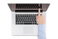 Free Top View Of Modern Retina Laptop With A Man&x27;s Hand Pointing At T Stock Image - 30884521