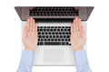Free Top View Of Modern Retina Laptop With A Man&x27;s Hands Directed Tow Stock Photo - 30884550