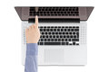 Free Top View Of Modern Retina Laptop With A Woman&x27;s Hand Pointing At Royalty Free Stock Images - 30884599