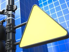 Blank Triangular Raodsign On Blue Background. Stock Image