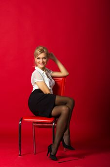 Young Woman In A White Blouse And Black Skirt Stock Photos