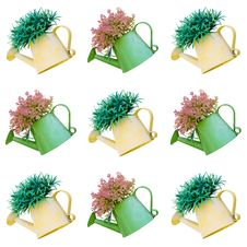 Beautiful Plant In Watering Can Tile Background Isolated