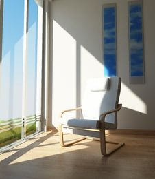 Chair In A Room Corner, Besides A Large Window In The Sun. Royalty Free Stock Photo
