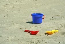 Free Shovels And Pail On The Beach Stock Photo - 3093340