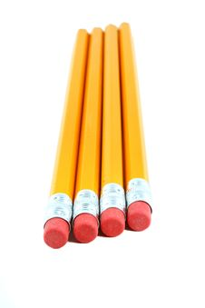 Free Four Isolated Yellow Pencils Stock Image - 3093351