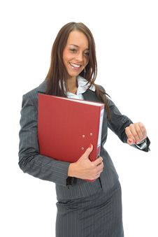 Free Business Woman With Folder Royalty Free Stock Photography - 3093867