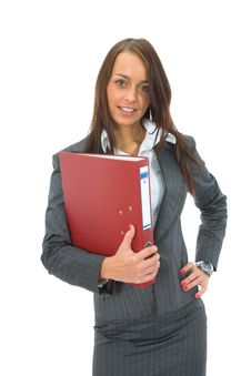 Free Business Woman With Folder Royalty Free Stock Images - 3093879