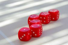Tempting Red Dice On Table Stock Image