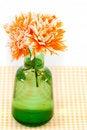 Free Orange Chrysanthemums In A Green Vase Stock Photo - 30906880