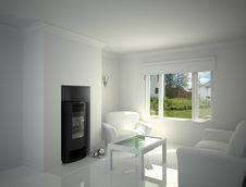 Free White Living-room. Royalty Free Stock Photo - 30900295