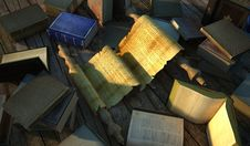 Free Ancient Papyrus Surrounded By Very Old Books On Wooden Floor. Stock Photography - 30903122