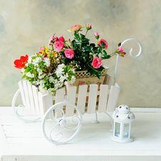 Wheelbarrow Full Of Flowers Royalty Free Stock Photo