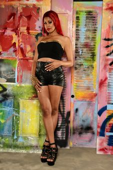 Free Young Black Woman Wearing Leather Shorts Stock Photos - 30906603