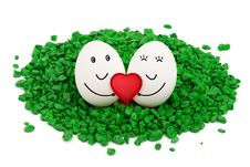 Free Two Eggs On Green Stones. Royalty Free Stock Photography - 30917007