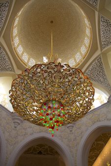 UAE, Abu-Dhabi, The White Mosque, The Interior Of The Mosque. Royalty Free Stock Photo