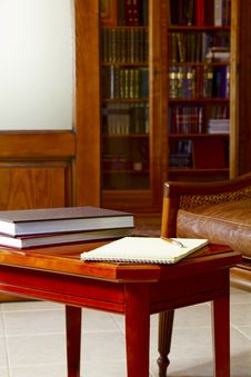 Coffee Table, Notebook And Books Royalty Free Stock Photo