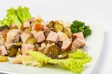 Free Salad With Bacon And Pickles Royalty Free Stock Photos - 30939888