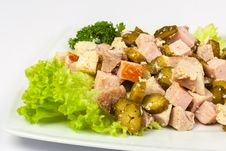 Free Salad With Bacon And Pickles Royalty Free Stock Photos - 30939918
