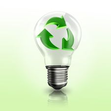 A Light Bulb With Recyclable Logo Inside Stock Image