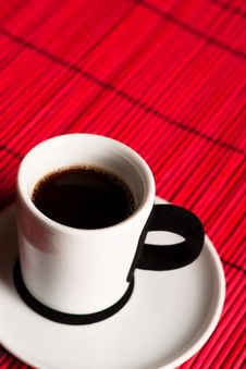 Free Fresh Brewed Coffee Over Red Background Stock Images - 30946544