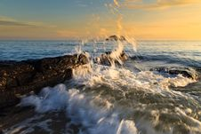 Free Stones And Waves During Sunrise In Songkha Stock Photography - 30954992