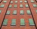Free Green Metal Windows On Brick Wall. Stock Photography - 30962412