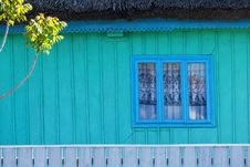 Detail Of Traditional Blue Painted House In Danube Delta Stock Image