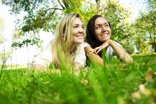 Free Girls On A Green Glade Stock Image - 30969531