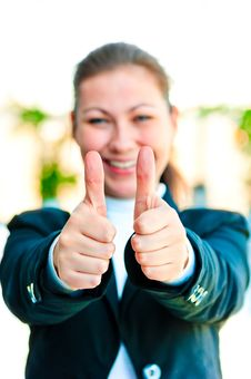 Free Young Happy Businesswoman Shows That Everything Is Fine Royalty Free Stock Photo - 30971535