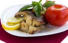 Free Served Grilled Fish With Lemon Stock Photography - 30979132
