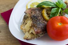 Free Baked Grouper Served With Lemon And Basil On White Plate Royalty Free Stock Photo - 30979135