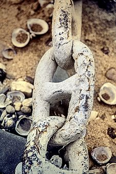 A Length Of An Old Anchor Chain Royalty Free Stock Photos