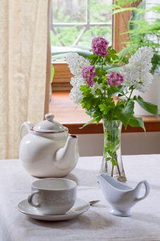 Teapot, Teacup And Milk Jug Royalty Free Stock Image
