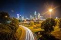 Free Charlotte City Skyline Night Scene Royalty Free Stock Image - 30998406