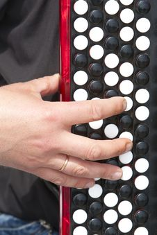 Free Man S Hand On The Accordion Keyboard Stock Photo - 30996670