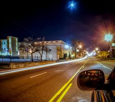 Standing In Car On Side Of The Road At Night Royalty Free Stock Images