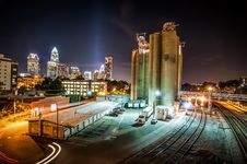 Free Charlotte City Skyline Night Scene Stock Photos - 30998403