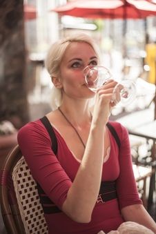 Free Beautiful Young Woman With Glass Of White Wine Royalty Free Stock Photography - 30998937