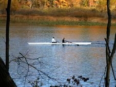 Two Rowers In A Skiff Stock Photo