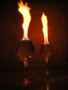 Free Flame Above Glasses. Stock Photography - 315932
