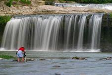 Free Man At Waterfall Royalty Free Stock Image - 316776