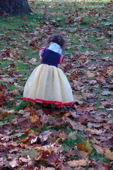 Little Girl Dresed As Snow White In The Woods Royalty Free Stock Image