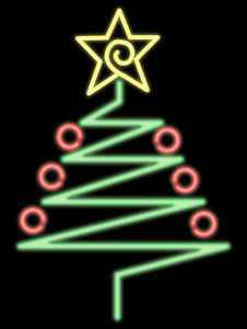 Free Neon Christmas Tree Royalty Free Stock Photography - 317087
