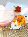 Free Cream And Candle With Flowers Royalty Free Stock Photo - 3101775