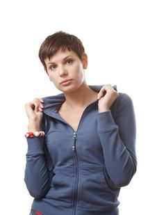 Beautiful Woman In Blue Jacket Stock Photography