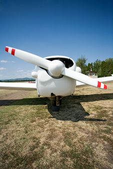 Standing Airplane, Front View Stock Photo