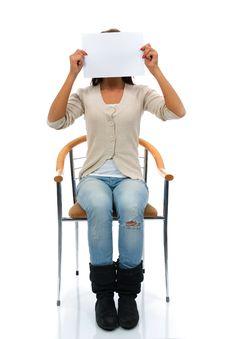 Sitting Woman Keeps Sheet Stock Image