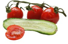 Free Isolated Tomatoes And Cucumber Stock Photo - 3108840